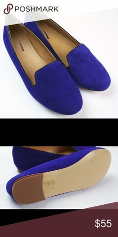 New JCREW Bright Blue Suede Cora Loafers Flats These new bright blue orchid Cora suede flats from JCREW Factory feature a suede upper and man made sole. They have a mark on sole to prevent store returns. Brand new without box. Size 8. J. Crew Shoes Flats & Loafers