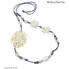 Bobbin lace flowers necklace with beads and cotton rope. Bohemian... ($15) ❤ liked on Polyvore featuring jewelry, necklaces, bohemian jewelry, cord necklace, flower necklace, beaded flower necklace and lace necklace