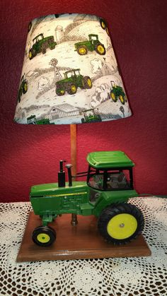John Deere tractor lamp with matching lamp shade. Lamp for Sale or have OodleBoo Lamps make one custom for you! Boys Tractor Bedroom, John Deere Bedroom, Tractor Room, John Deere Nursery, Tractor Nursery, John Deere Crafts, John Deere Decor, John Deere Kids, John Deere Baby