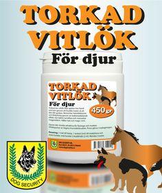Kryddar maten så att den blir godare för hunden. Motverkar förkylningar och infektioner. God effekt vid hosta, bronkit, astma, hals- och magproblem. Vitlök innehåller allicin vilket är naturens eget antibiotika mot virus och baciller.