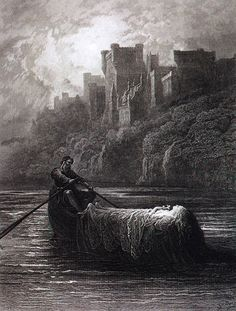 """Gustave Doré (1832-83). """"The Body of Elaine on Its Way to King Arthur's Palace.""""  from: The Doré Gift Book: Illustrations to Tennyson's Idylls of the King."""