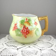 Antique Lemonade Pitcher Clear Hand Painted Porcelain China Bavaria Grapes Turn of the Century Vintage Kitchen Serving Pitcher