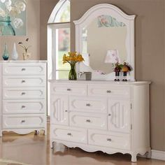 Hayley Country White Wood Glass Dresser