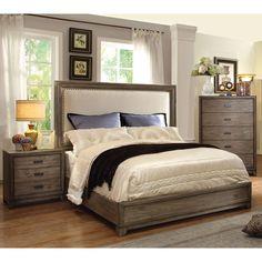 Furniture of America Arian Rustic Natural Ash Bed (King), Beige