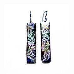 Multi-Color Patterned Metallic Dichroic Art Glass Earrings Handmade | SteiderStudios - Jewelry on ArtFire