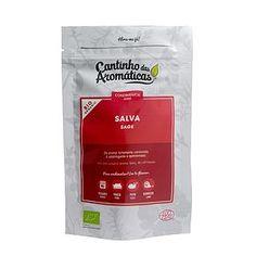 Salva, Biológico, Cantinho das Aromáticas, aroma canforado, adstringente e apimentada, utilizar em assados, porco, pato, borrego