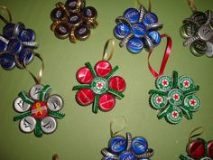Beer cap Christmas Ornaments! LOL this would be funny and cute for andrews man cave one day