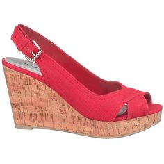 maurices Danielle Sling Back Wedge In Red ($17) ❤ liked on Polyvore