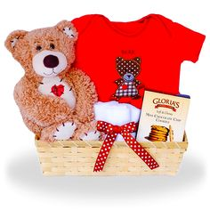 Hugs and Kisses for Your Baby Bear Gift Basket Price: $39.00 #GiftBaskets4Baby #Neutral #gifts #giftbaskets #Baby For more information visit: www.GiftBaskets4Baby.com