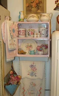 Shabby Chic... This makes me think of my sweet Grandma Walker. She always had the prettiest embroidery work. Treasured memories of her and her home.
