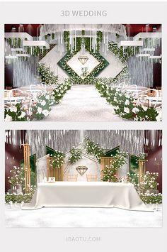 White elegant European interior wedding renderings#pikbest#decors-models Wedding Stage Backdrop, Wedding Backdrop Design, Wedding Stage Design, Wedding Stage Decorations, Floral Backdrop, Backdrop Decorations, Art Deco Wedding, Wedding Themes, Backdrops