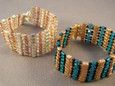 This free beaded bracelet pattern uses Swarovski crystal beads and glass cube beads to make a sleek and sparkling cuff bracelet.: The Finished Bracelet
