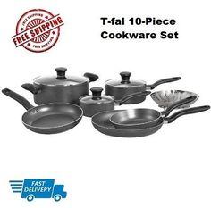T-fal A821SA Nonstick 10-Piece,Cookware Set, Oven Safe, Charcoal,NEW  #Tfal