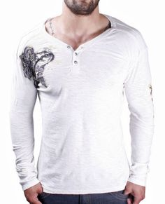 AFFLICTION Synthesis Long Sleeve Henley Mens Shirt White Size XL. From #Affliction. List Price: $68.00. Price: $44.99