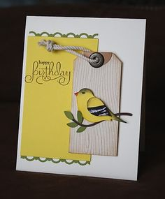 Sunshine, Smiles & Stamps= Lovin' Life: Feathered Flock- Part II - goldfinch...luvin' all of these species created from the two step bird punch...