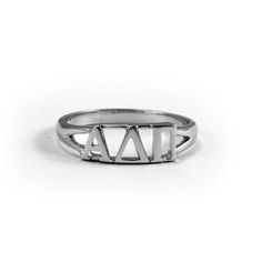 Show your ADPi spirit with this Sterling Silver Alpha Delta Pi Ring.  Genuine sterling silver with a rhodium finish for maximum shine.  A Greek Licensed Product.
