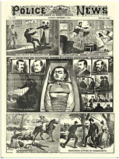 ANTIQUE VICTORIAN POLICE NEWS NEWSPAPER JACK THE RIPPER 2 A3  POSTER REPRINT