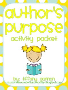 Author's Purpose is one of my favorite comprehension strategies to teach!  This packet is great to use with cooperative groups.This mini-packet i...