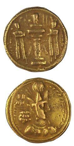 Ancient Persian. Gold dinar coin of Shapur II, 309-379 AD.