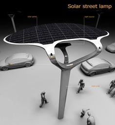 Solar Street is an energy saving concept for public spaces. The system includes street lamps, bus stops, phone booths and ATMs. #energy #YankoDesign
