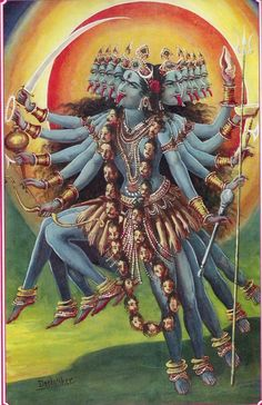 Kali, or the dark goddess, is the fearful and ferocious form of the mother goddess Durga. She stands with one foot on the thigh, and another on the chest of her husband, Shiva. Mother Kali, Divine Mother, Kali Goddess, Mother Goddess, Indian Gods, Indian Art, Kali Mata, Spiritus, Sacred Feminine