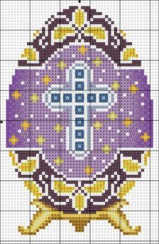 Such a pretty, detailed Easter crochet graph. Small Cross Stitch, Beaded Cross Stitch, Cross Stitch Flowers, Cross Stitch Charts, Cross Stitch Designs, Cross Stitch Embroidery, Embroidery Patterns, Cross Stitch Patterns, Easter Cross
