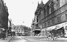 Old photo of New Briggate Leeds Leeds Pubs, Leeds City, Old Pictures, Old Photos, Yorkshire Day, John Harrison, Cinema Theatre, Far Away, The Past