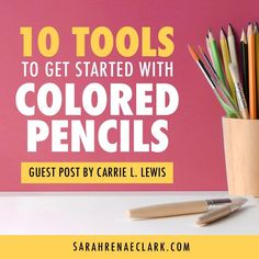 Carrie L. Lewis talks about her top 10 essential tools for beginners to get started with colored pencils. Read the guest post at sarahrenaeclark.com #coloredpencils Coloring Tips, Free Coloring Pages, Adult Coloring, Coloring Books, Colouring Techniques, Art Techniques, Must Have Tools, Watercolor Pencils, Drawing Tips