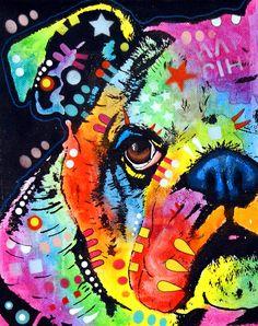 Peeking Bulldog Painting