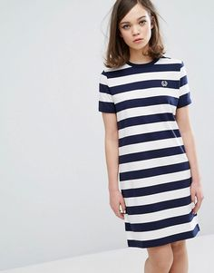 a923da6493 Fred Perry Archive Striped T-shirt Dress at asos.com