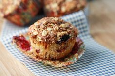 Triple Berry Oat Muffins with Cinnamon Streusel