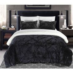 Chiara 3-Piece Sherpa Lined Bed-in-a-Bag Comforter Set, Black