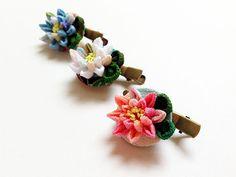 lotus hair clip and brooch pin Kanzashi fablic by Keikonoheya, $18.00