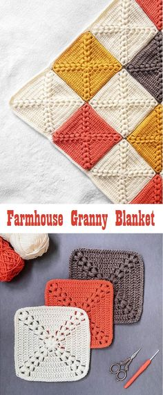 How to Crochet a Farmhouse Granny - Design PeakYou can find Crochet granny squares and more on our website.How to Crochet a Farmhouse Granny - Design Peak Crochet Motifs, Crochet Blocks, Granny Square Crochet Pattern, Crochet Blanket Patterns, Crochet Stitches, Knitting Patterns, Granny Squares Crochet Blanket, Crotchet Blanket, Granny Granny
