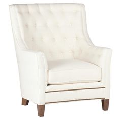 "<font color=""gray""><b>Please note this style features a curved back.</b></font>  Relax and slip into something comfortable. This modernized wingback features clean lines, and a hand tufted back. A double row of nailheads line the front and aide in refining this sophisticated look. Available in a wide variety of fabrics and finishes, including your choice of 5 different nailhead designs and 3 leg finish options. Priced in Zulu Vanilla, grade 1 fabric.  <i>*Not available in leather.</i> <a…"
