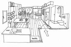 An explanatory sketch of a studio flat