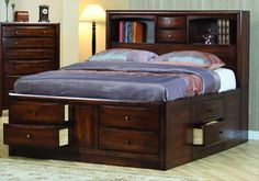 Hillary King Size Bedroom Storage Bed Brown Wood Frame This would be awesome but probably too hard to make! lol