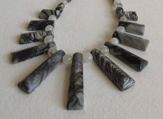 Zebra Jasper and Rutilated Quartz Necklace with Sterling Siver