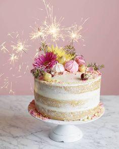 Gorgeous naked cake on @offbeatbride