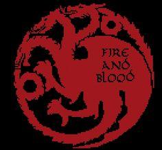 Game of Thrones Targaryen House sigil counted cross stitch printable PDF…