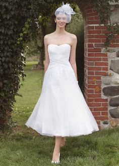 Strapless Tulle Tea Length Wedding Gown - elegant and different.