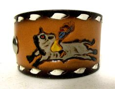 Rodeo Bullrider and Calf Roping Upcyled leather cuff by honeyblossomstudio, $17.99