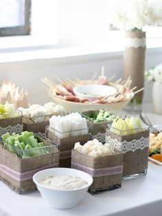 crudites - lace decor boxes  For more lace inspiration: www.facebook.com/labolaweddings