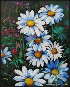 Daisy Fowlers 009 - Daisy Flower Oil Paintings - vivid-gallery.com