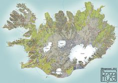Hand draw map of Iceland. Source: Borgarmynd is a local company that does hand drawn maps in Iceland. There are some cool town maps in the link.