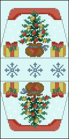 Cross-stitch Christmas Tree & Presents purse pattern... no color chart available, just use pattern chart as your color guide.. or choose your own colors..