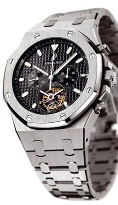 Audemars Piguet Royal Oak Men's Black Dial Stainless Steel Chronograph Tourbillon Watch 25977ST.OO.1205ST.02  Price : $188,500.00 http://www.blountjewels.com/Audemars-Piguet-Chronograph-Tourbillon-25977ST-OO-1205ST-02/dp/B000OCPUDQ