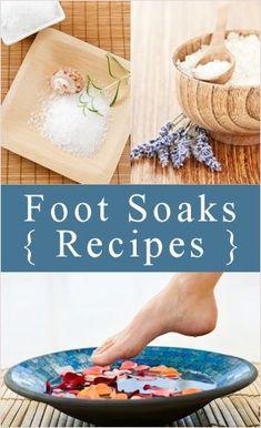 5 Homemade Foot Soak Recipes... water, milk, olive oil, baking soda and lavender oil