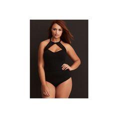 50f814c1feb13 Torrid Lace Trim Keyhole Microfiber Bodysuit ( 34) ❤ liked on Polyvore  featuring intimates