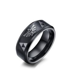 SIZZZ 2016 New Fashion Men Punk Jewelry 8mm Wide Stainless Steel Cool Men Zelda Ring Wholesale Male Accessories